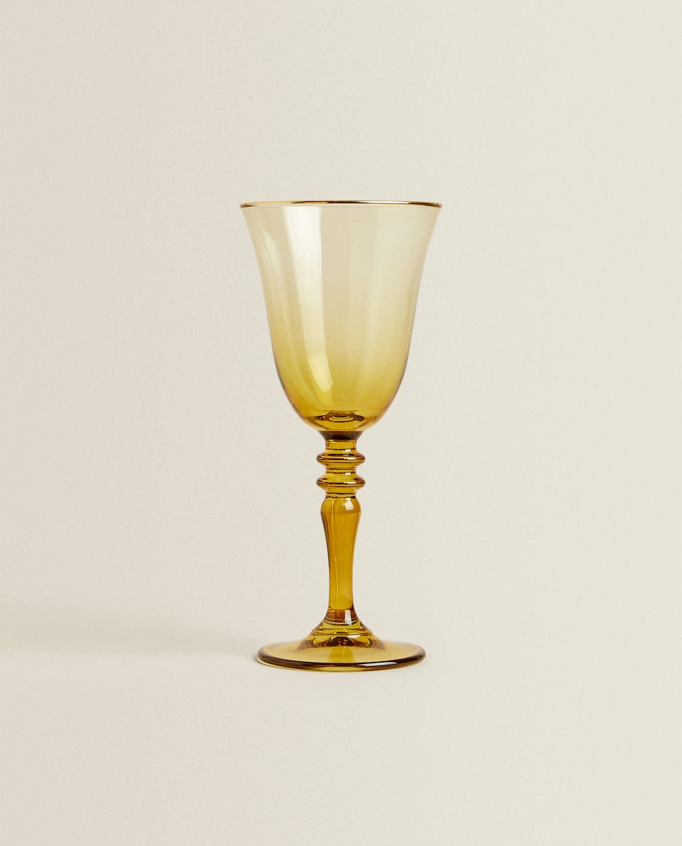 GOLD RIM COLORED WINE GLASS