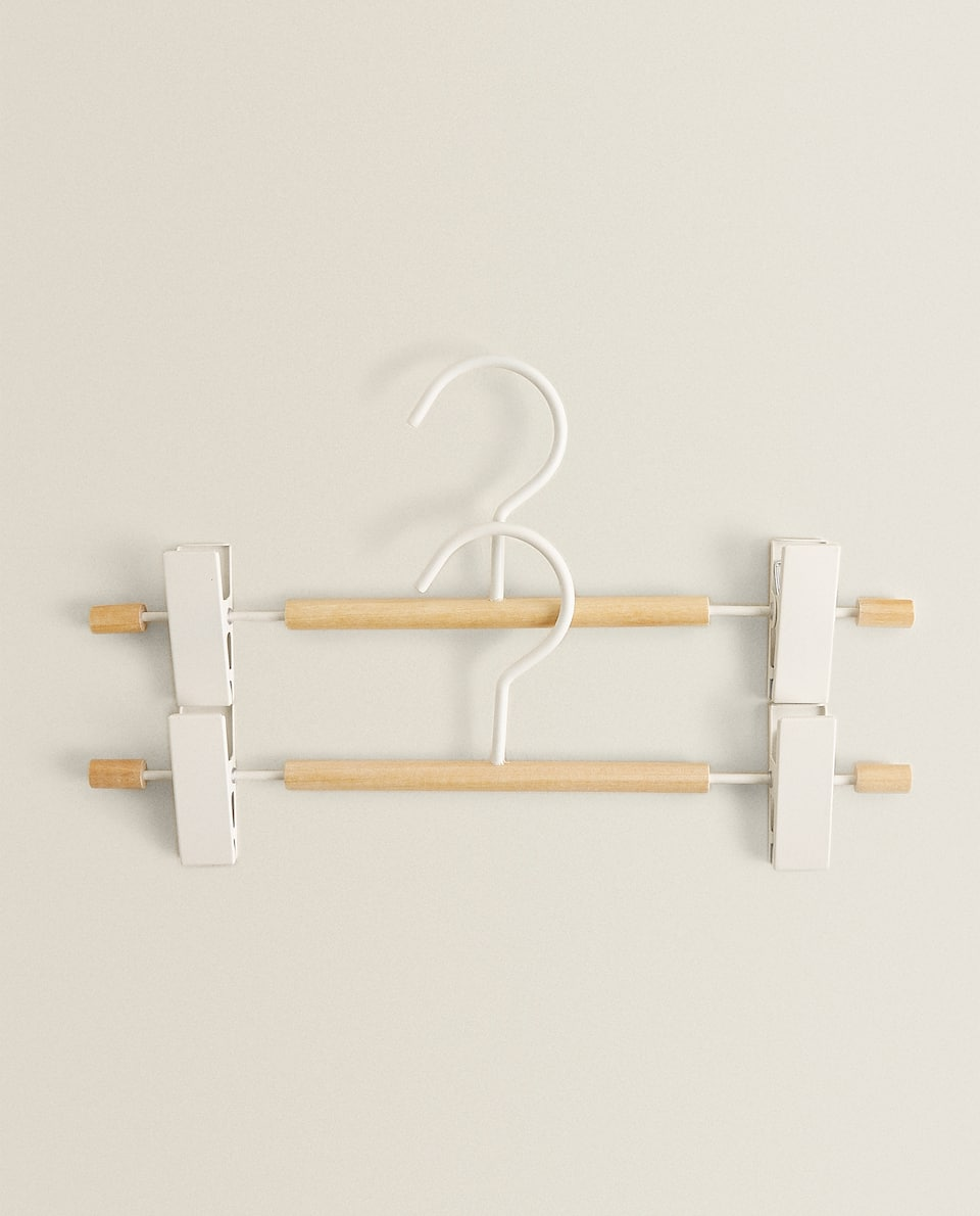 Wooden and metal peg hanger (set of 2)