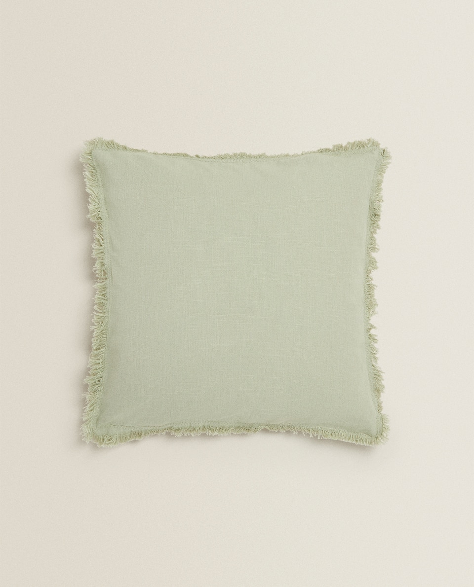 COTTON THROW PILLOW WITH FRINGING