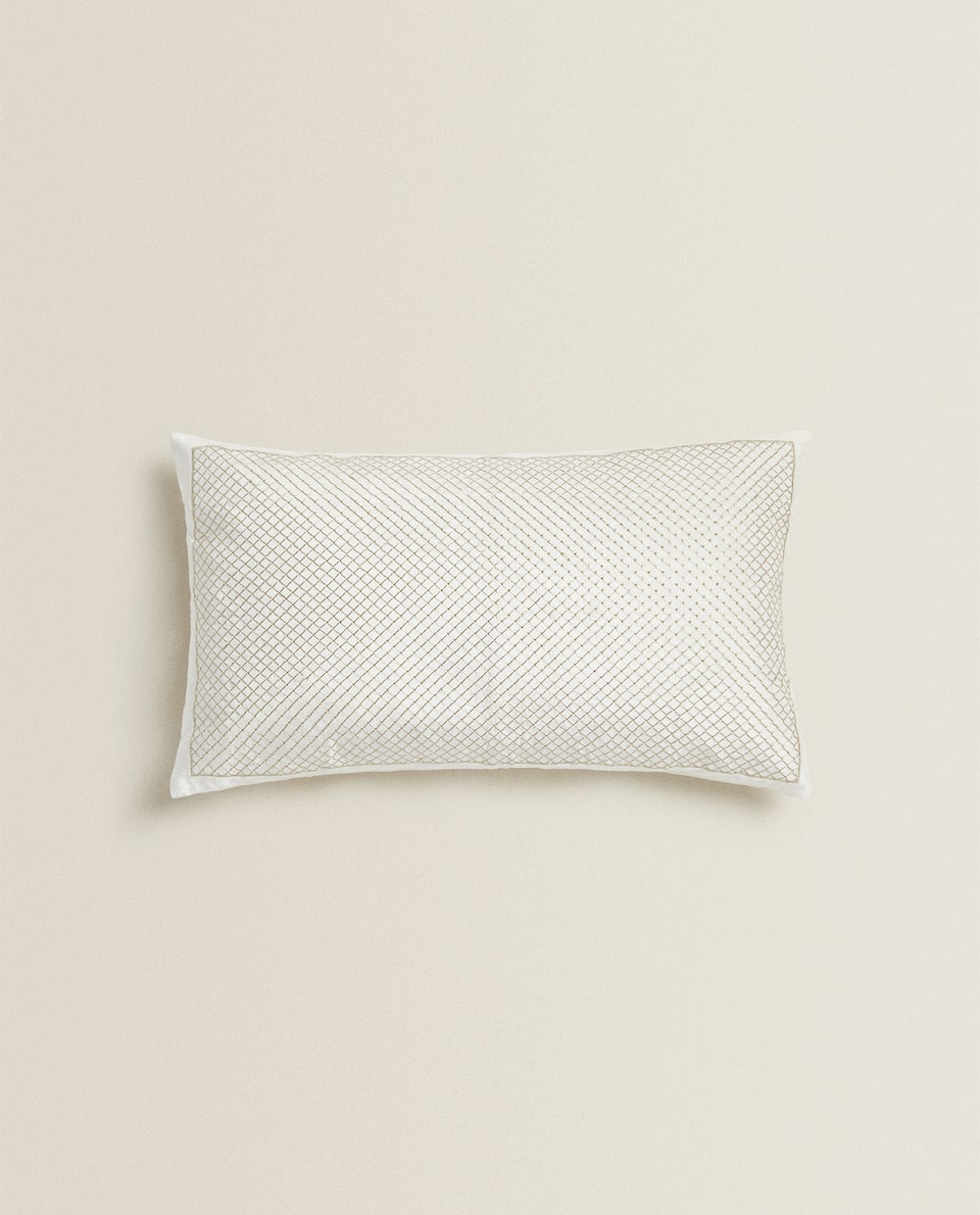 CUSHION COVER WITH METALLIC THREAD EMBROIDERY