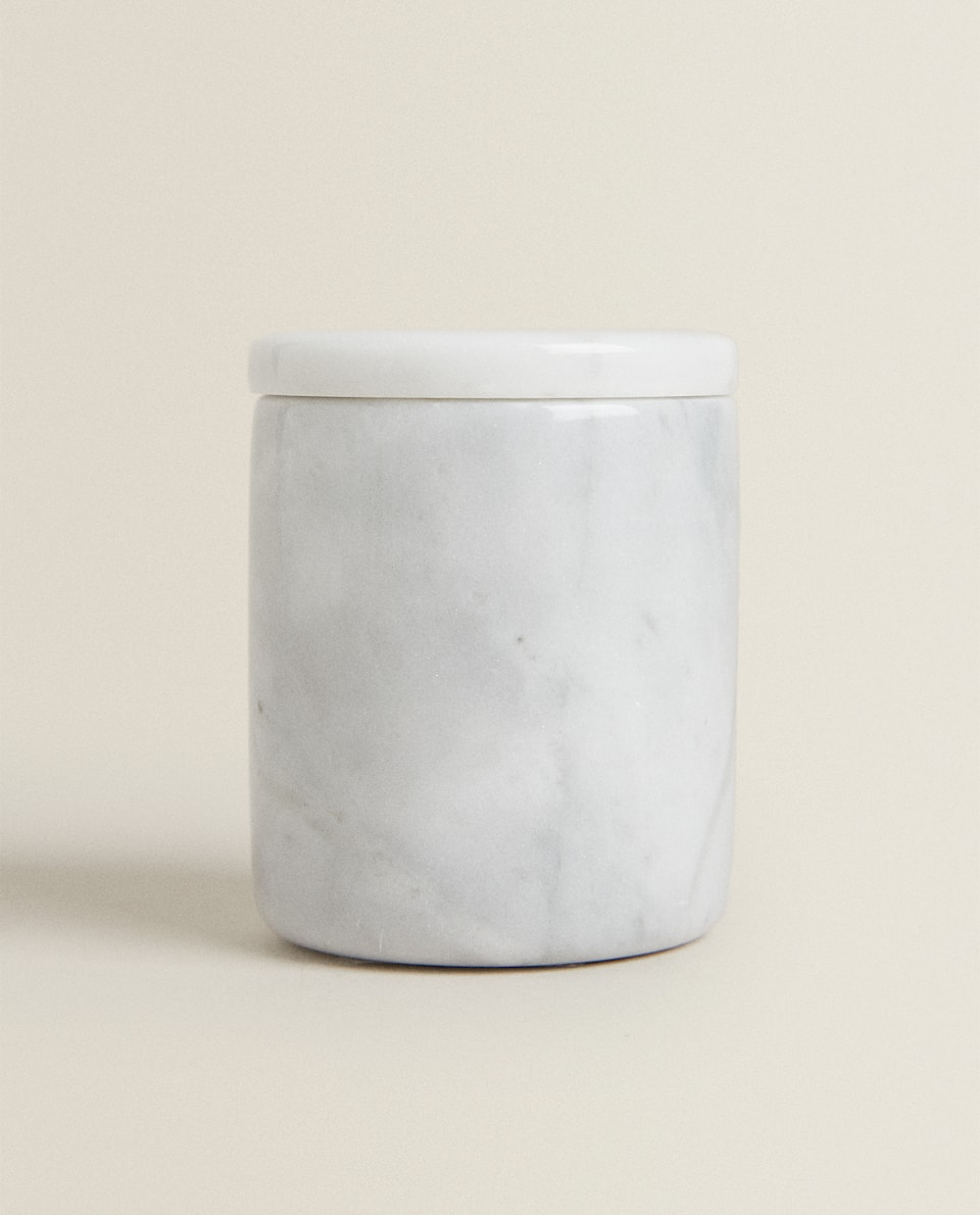 DECORATIVE GREY MARBLE JAR