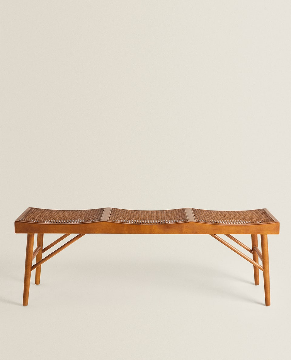 WOOD AND RATTAN BENCH