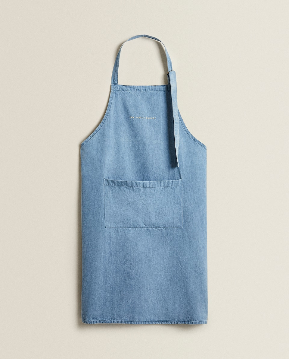 EMBROIDERED DENIM ADULT APRON
