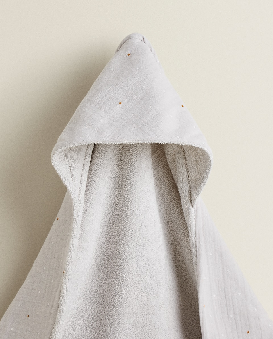 STAR PRINT HOODED TOWEL