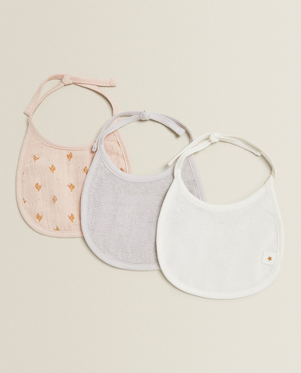 FLORAL COTTON BIB (PACK OF 3)