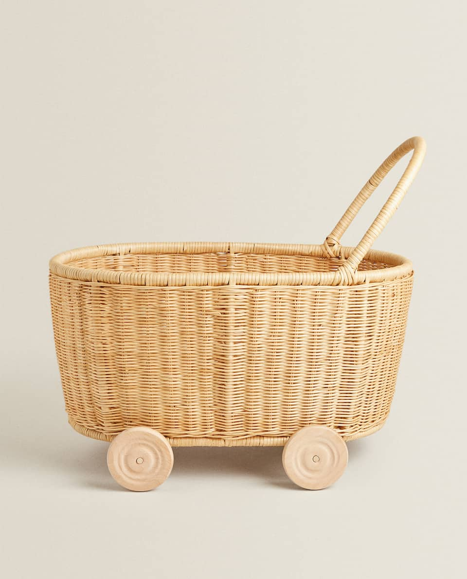 RATTAN TROLLEY WITH WHEELS