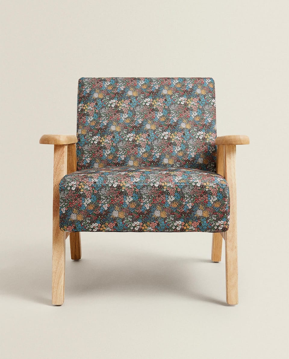 FLORAL PRINT COTTON ARMCHAIR
