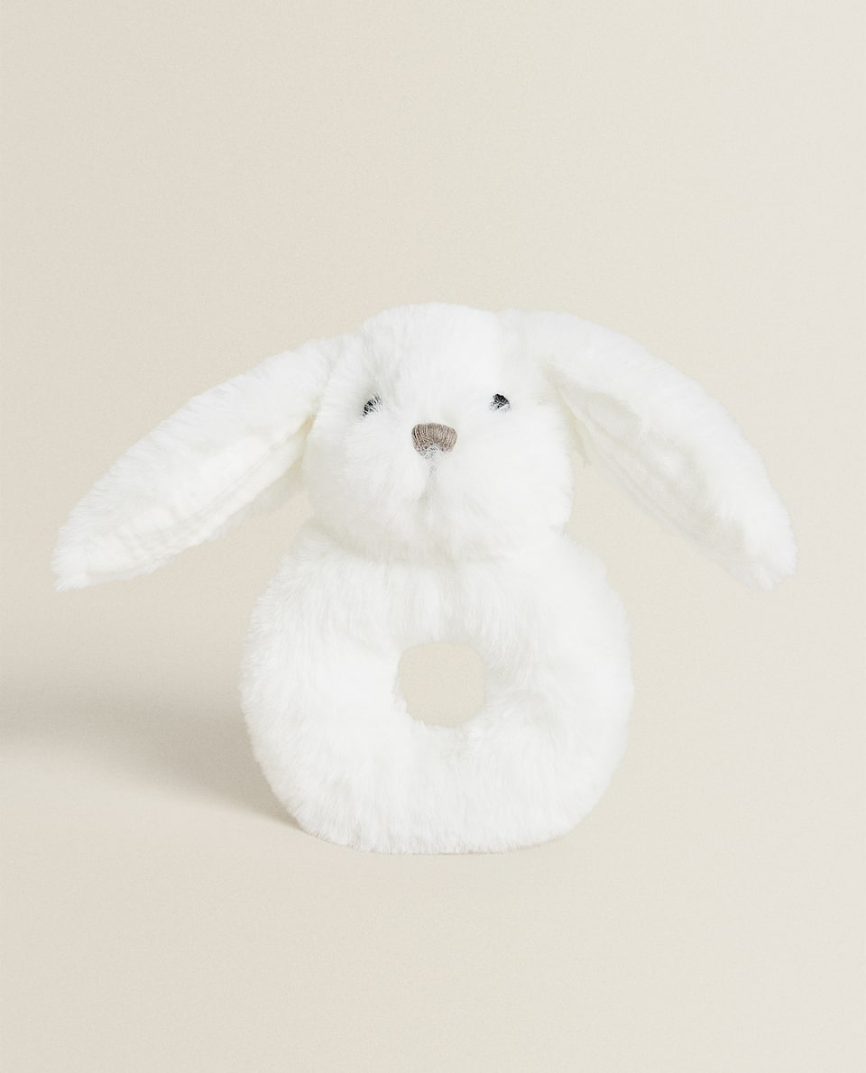 SOFT TOY RABBIT RATTLE