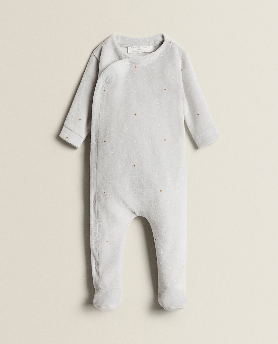 VELOUR STAR PRINT ROMPER SUIT
