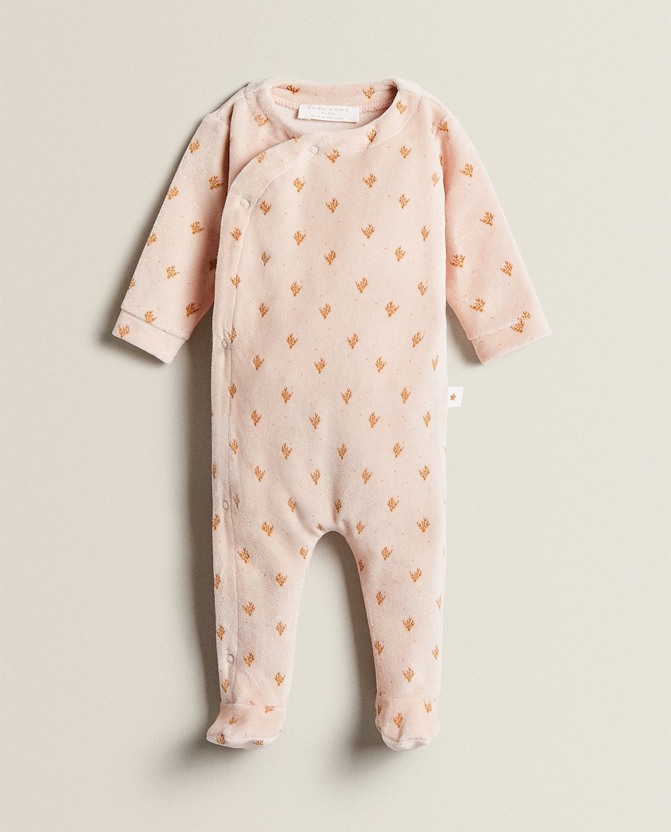 VELOUR LEAF PRINT ROMPER SUIT