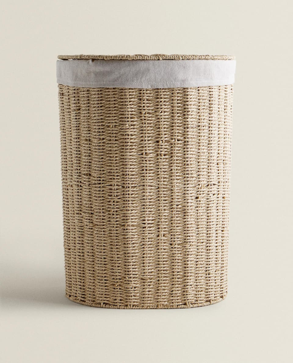 FABRIC-LINED LAUNDRY BASKET
