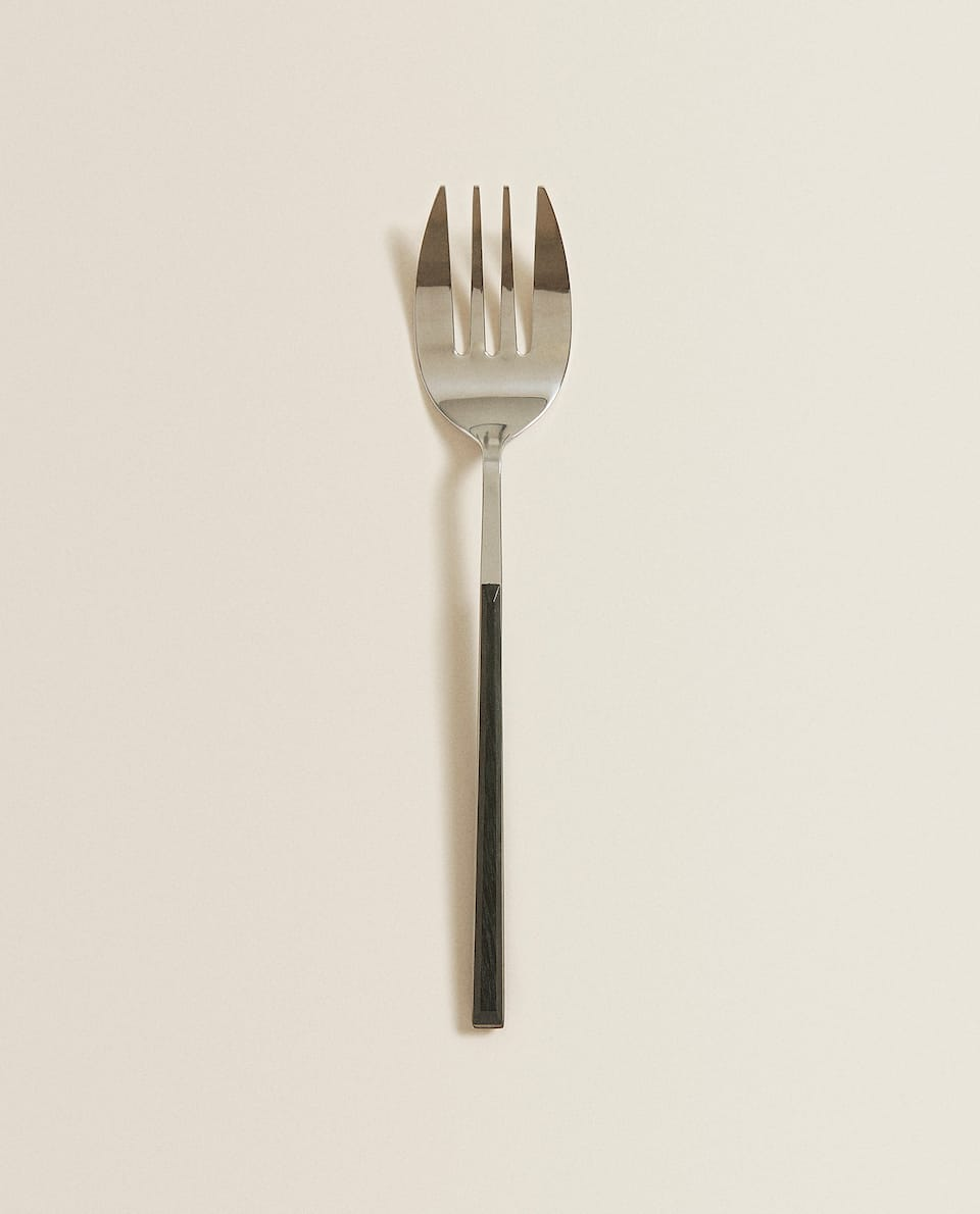 SERVING FORK WITH BLACK HANDLE