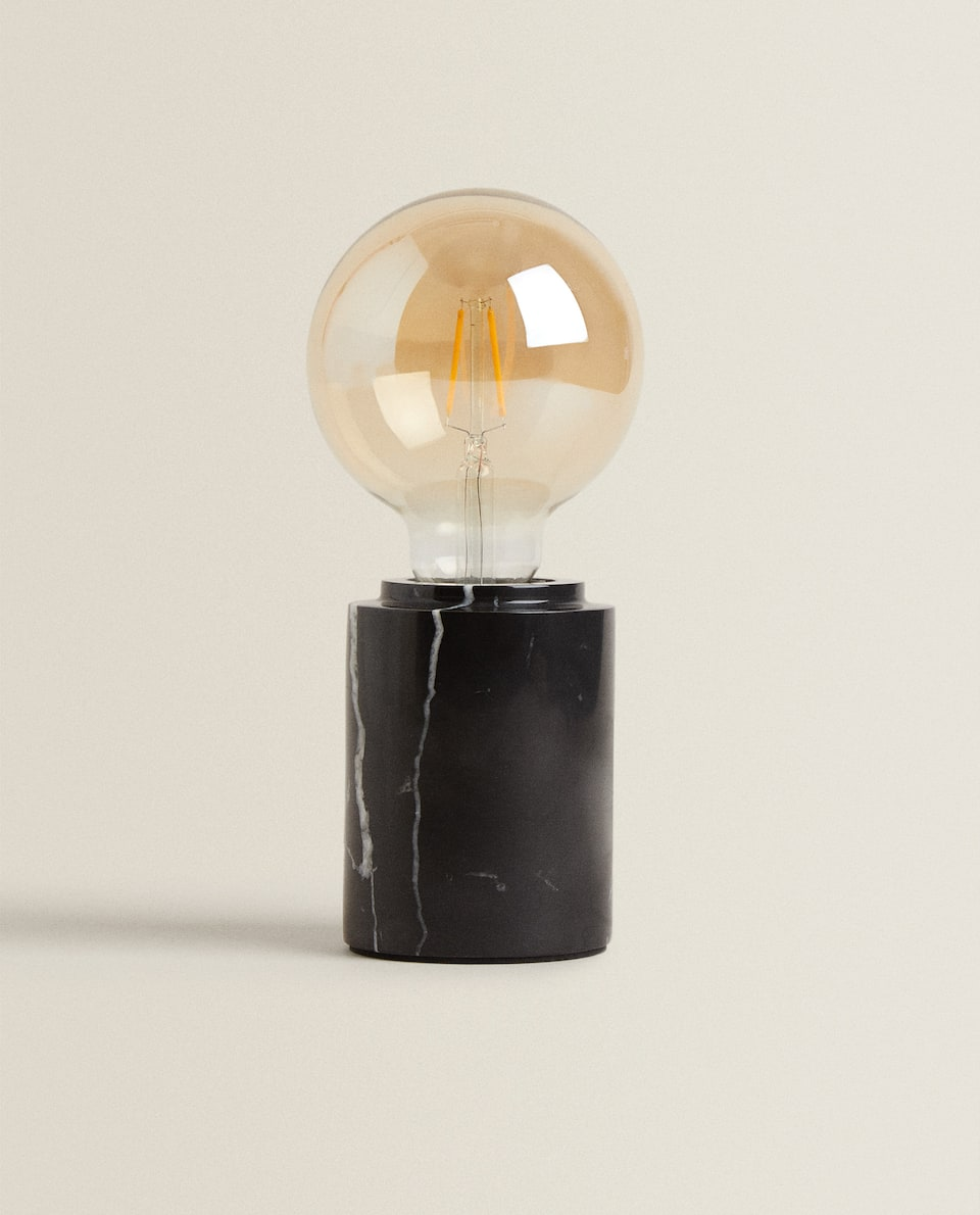 LAMP WITH ROUND MARBLE BASE