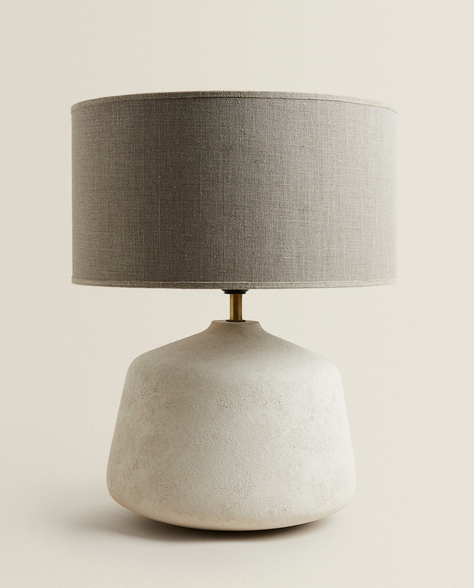 LINEN AND CERAMIC LAMP