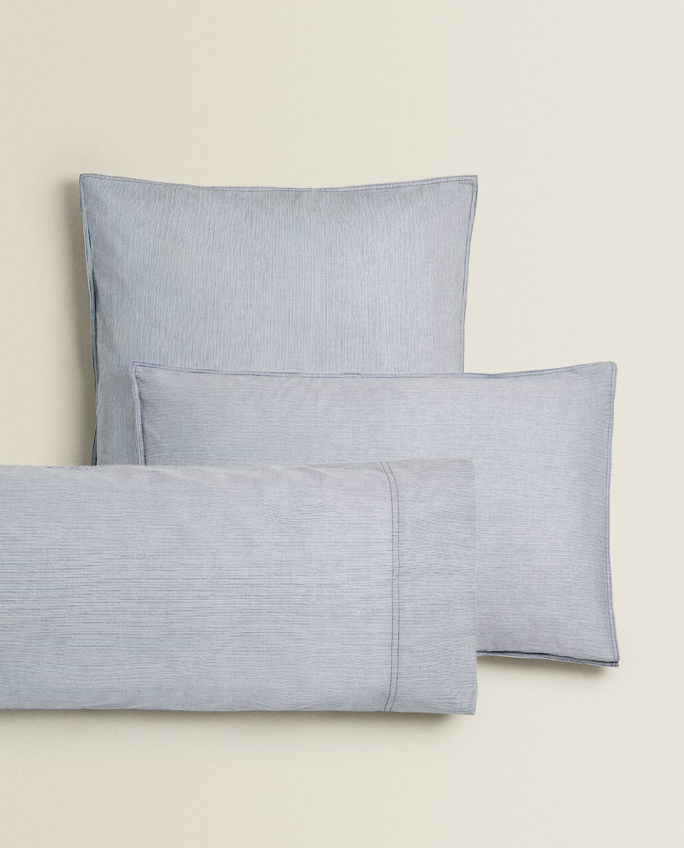 WASHED COTTON STRIPED PILLOWCASE