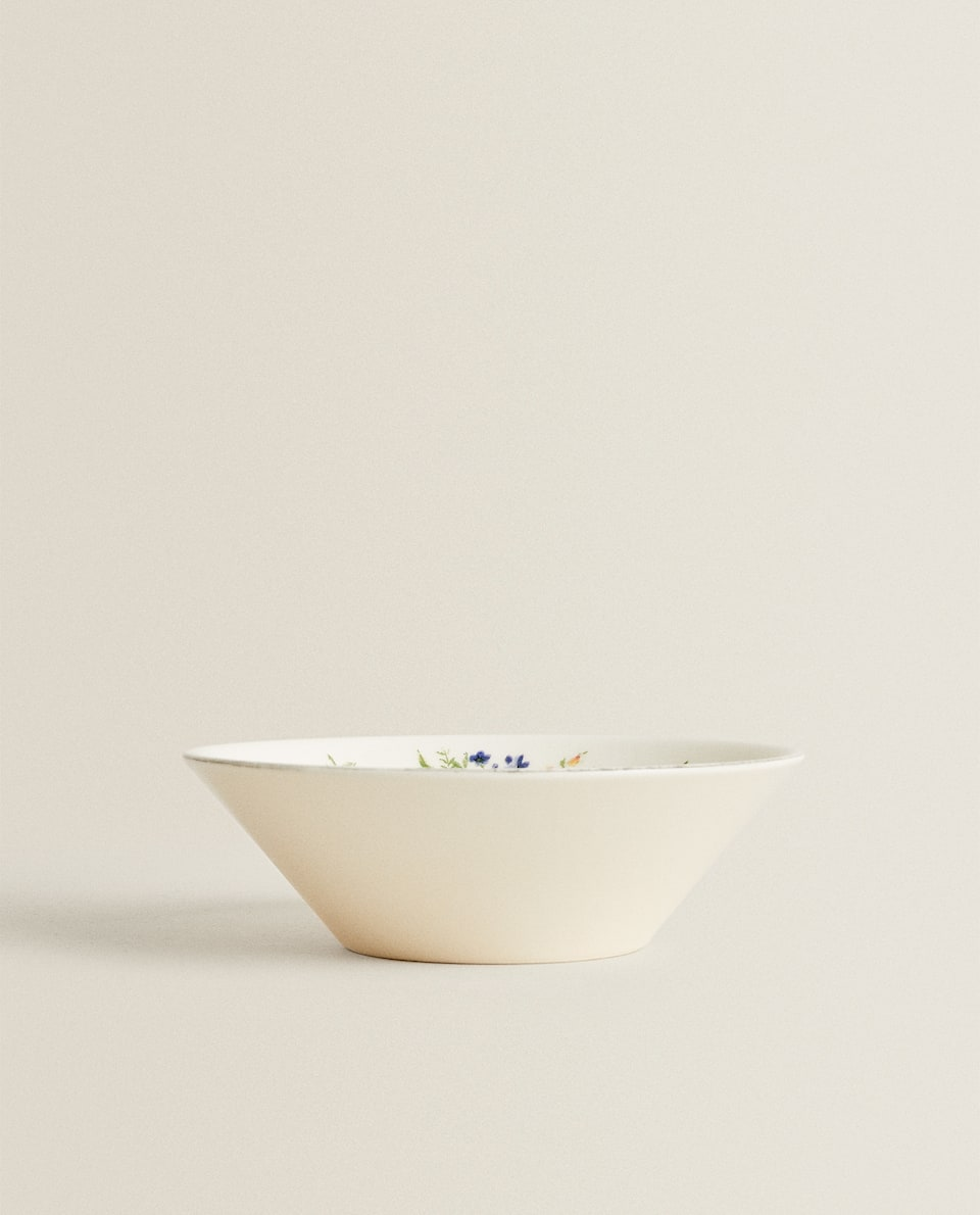 FLORAL EARTHENWARE BOWL