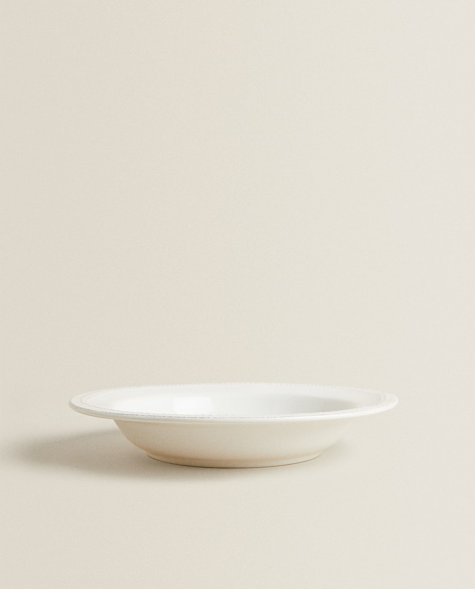 HERRINGBONE EARTHENWARE SOUP PLATE
