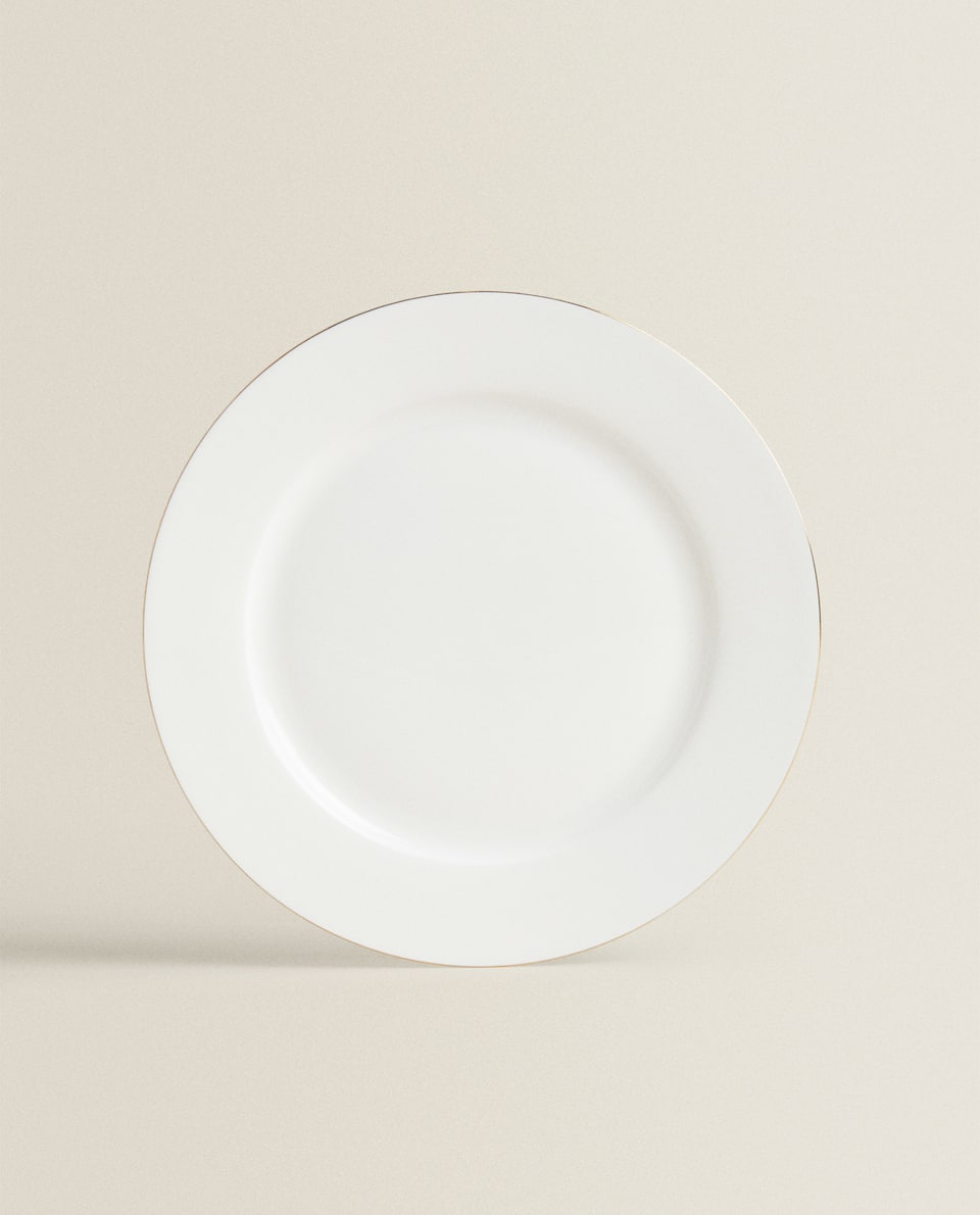 PORCELAIN DINNER PLATE WITH GOLD RIM