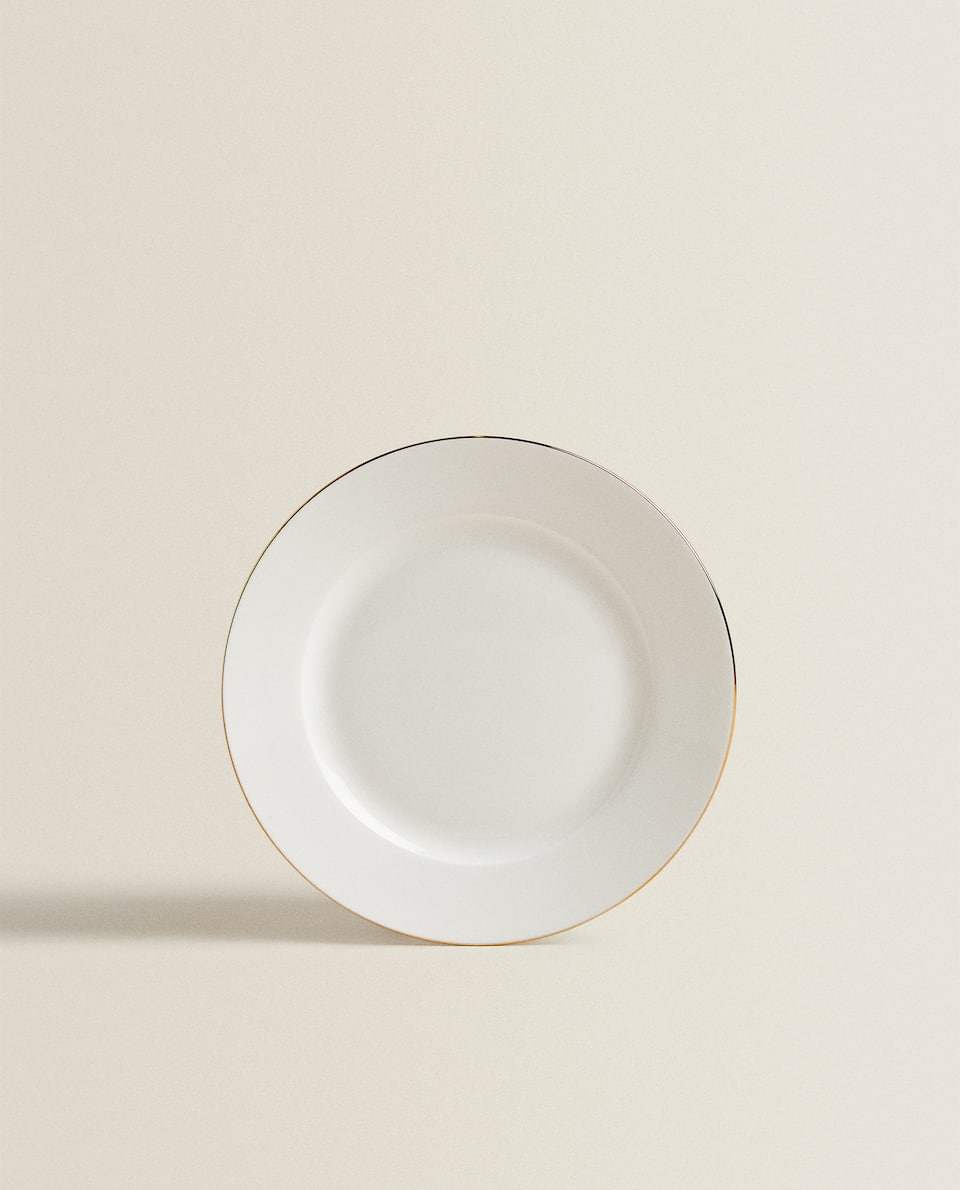 PORCELAIN SIDE PLATE WITH GOLDEN RIM