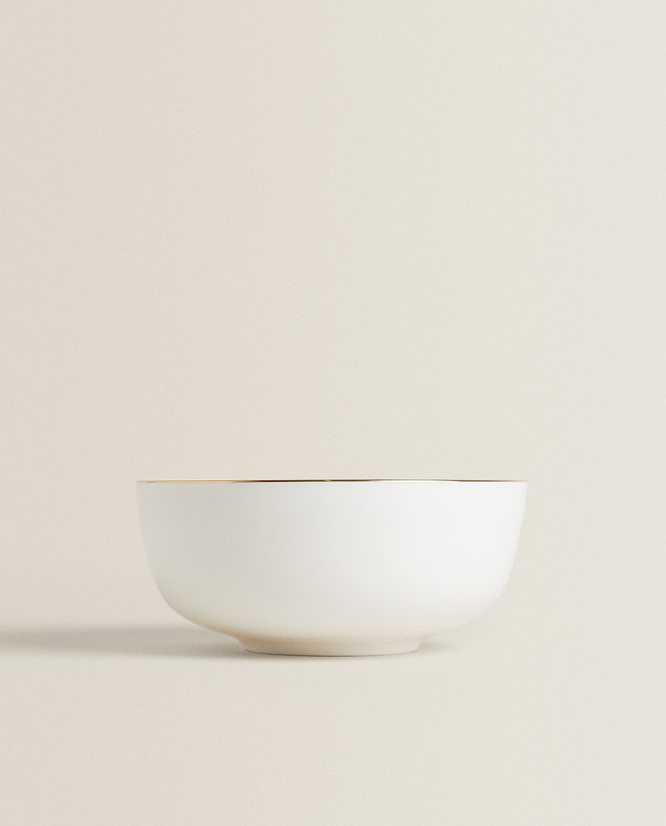 PORCELAIN BOWL WITH GOLD RIM