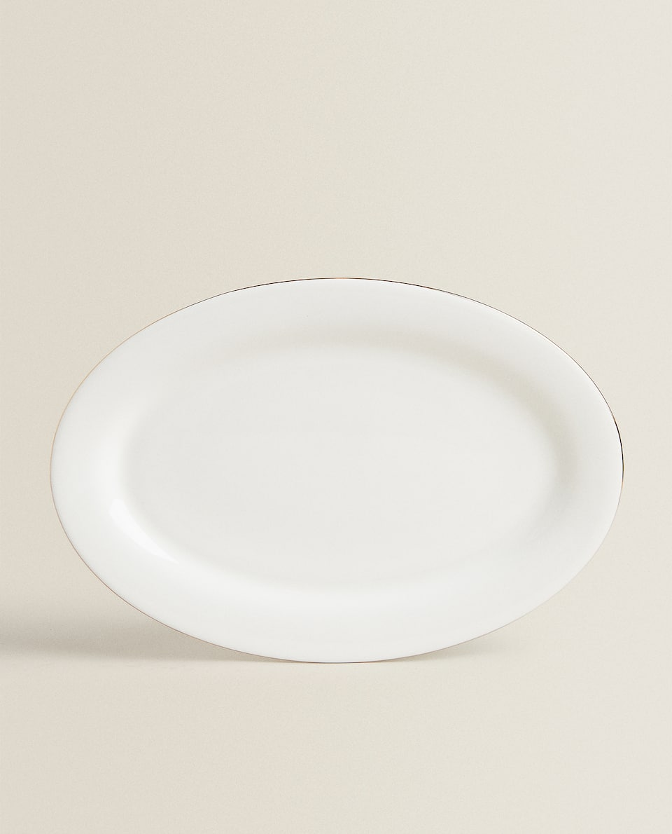 BONE CHINA OVAL SERVING DISH WITH GOLD RIM