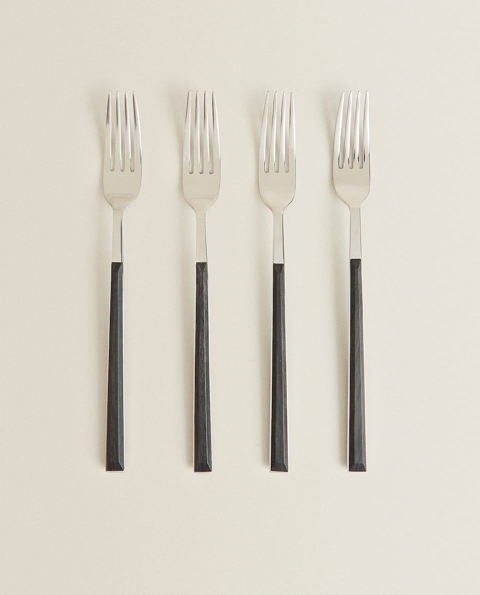 BOX 4 FORKS WITH WOOD-EFFECT HANDLES