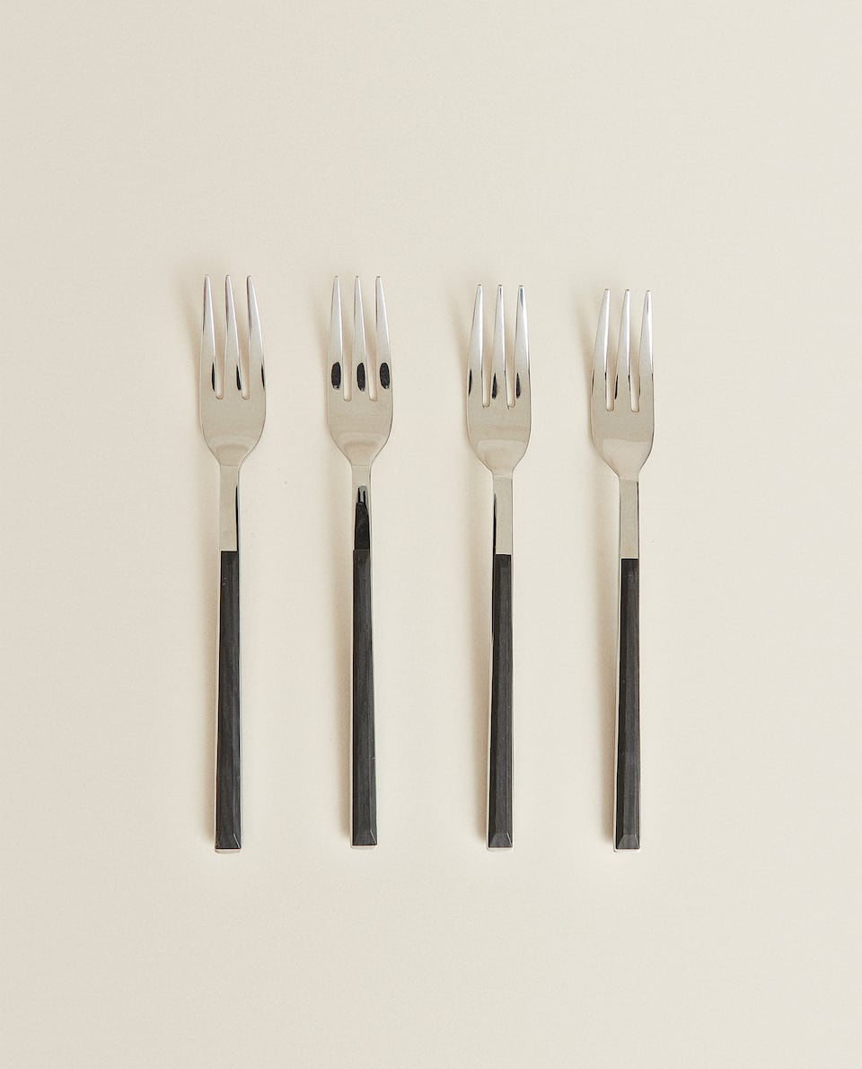 BOX 4 BRUNCH FORKS WITH WOOD-EFFECT HANDLE