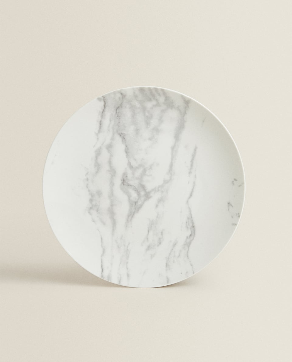 MARBLE-EFFECT PORCELAIN DINNER PLATE