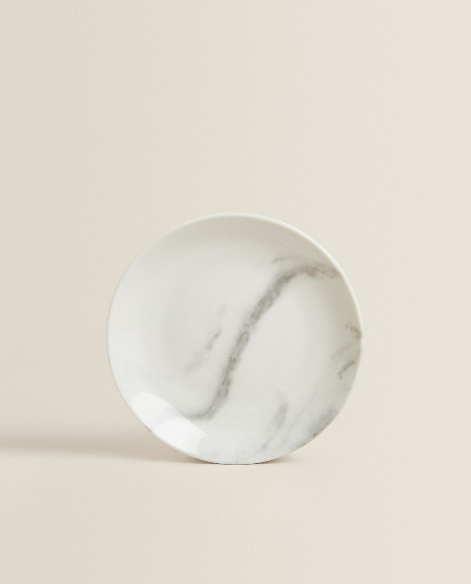MARBLE-EFFECT PORCELAIN SIDE PLATE
