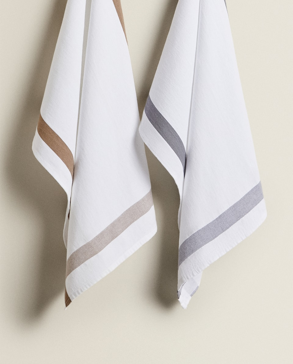 TEA TOWEL WITH CONTRAST STRIPE (PACK OF 2)
