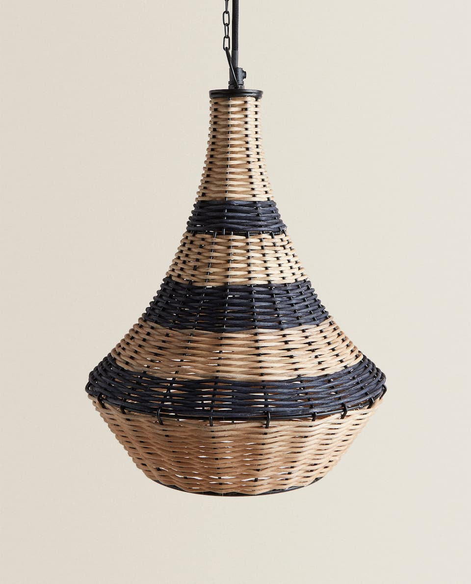 LARGE RATTAN CEILING LAMP