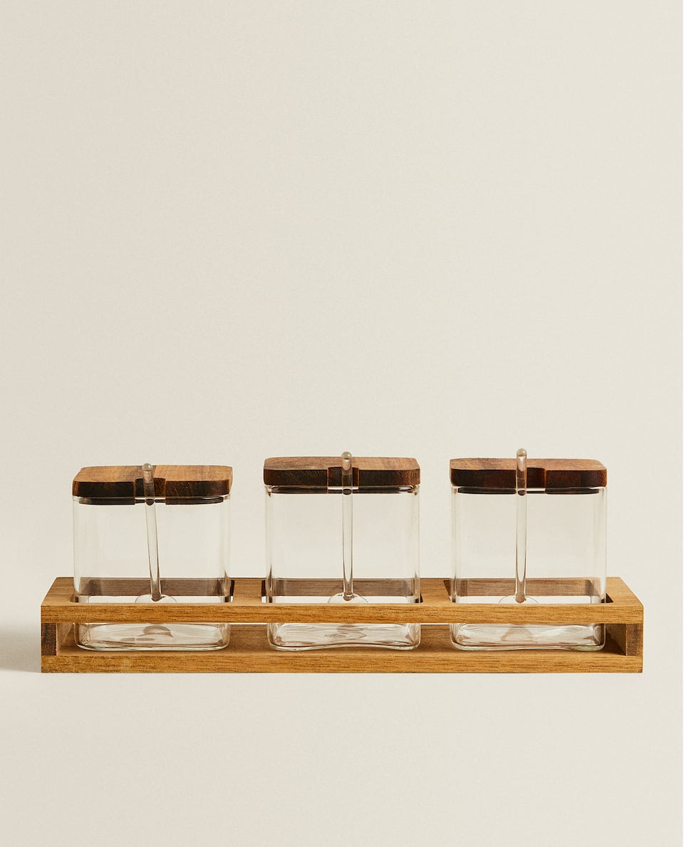 BOROSILICATE GLASS SPICE RACKS (SET OF 3)