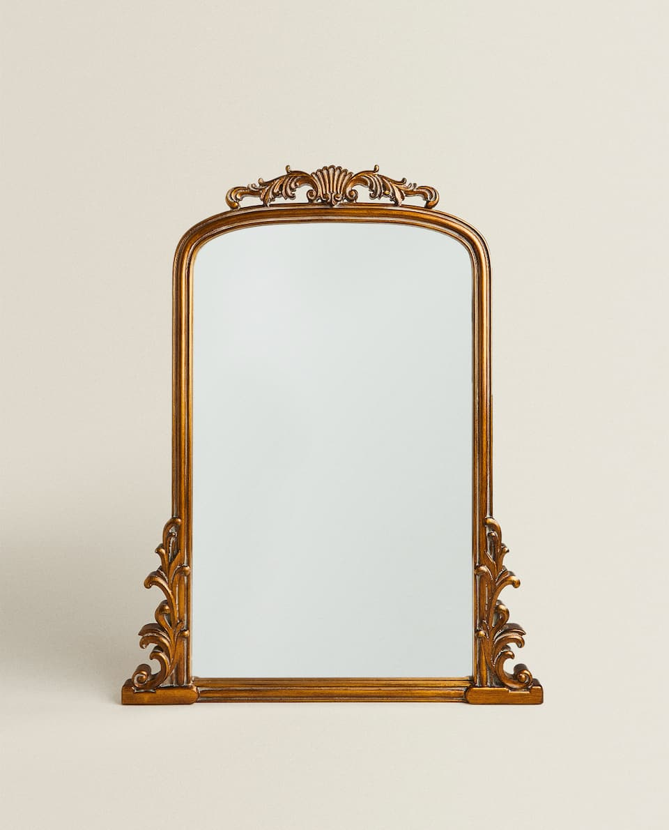 GOLD WOODEN MIRROR