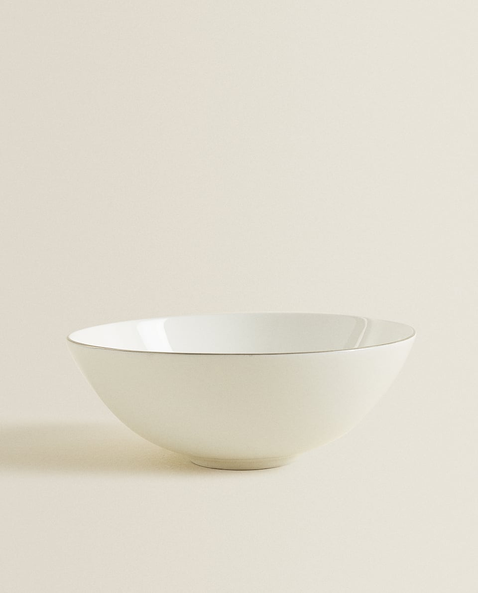 PORCELAIN BOWL WITH PLATINUM RIM