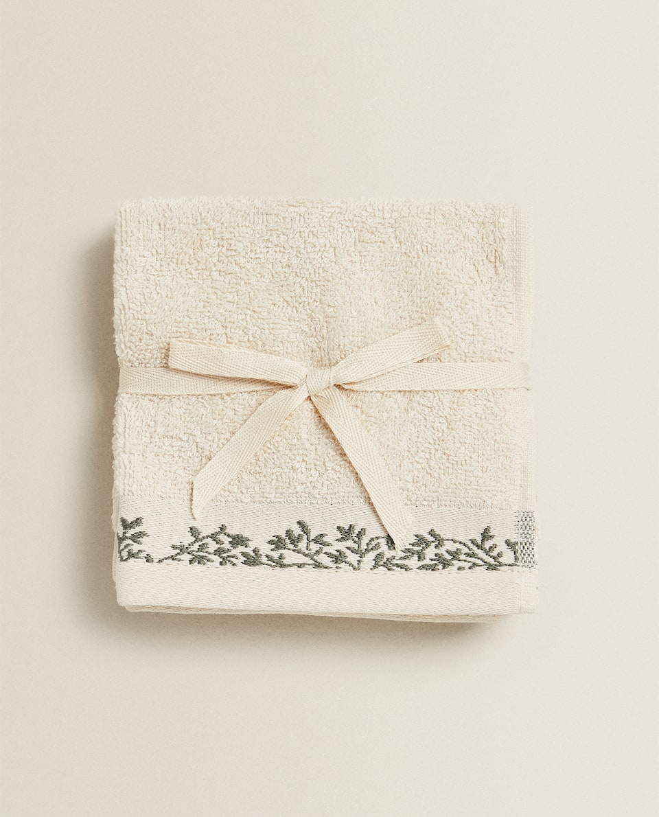SERVIETTE DE BAIN COTON MINI-FEUILLES (LOT DE 3)
