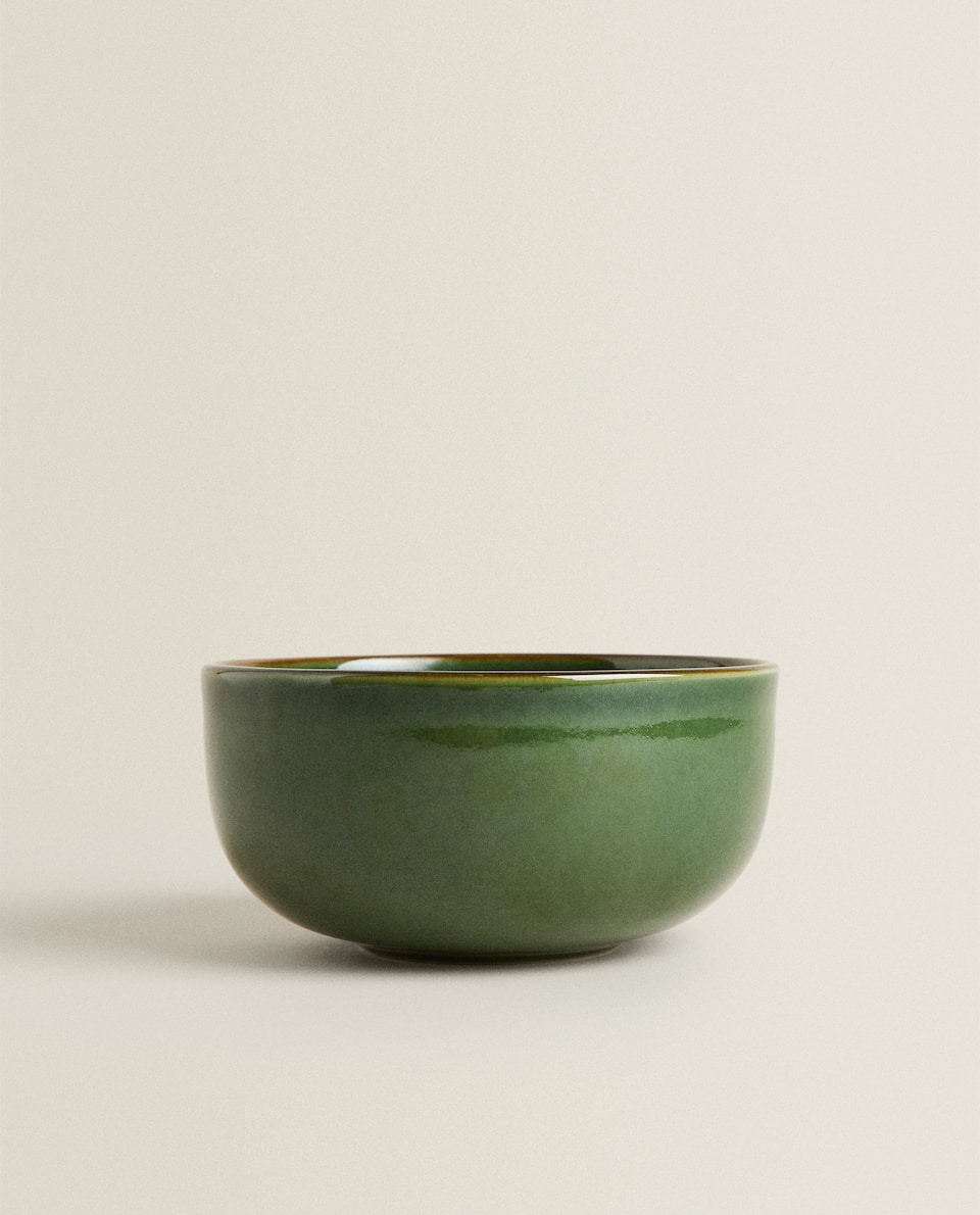 GREENISH STONEWARE BOWL