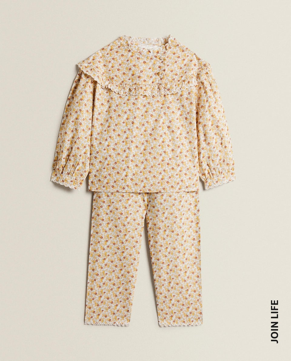SET OF FLORAL PRINT POPLIN PYJAMAS