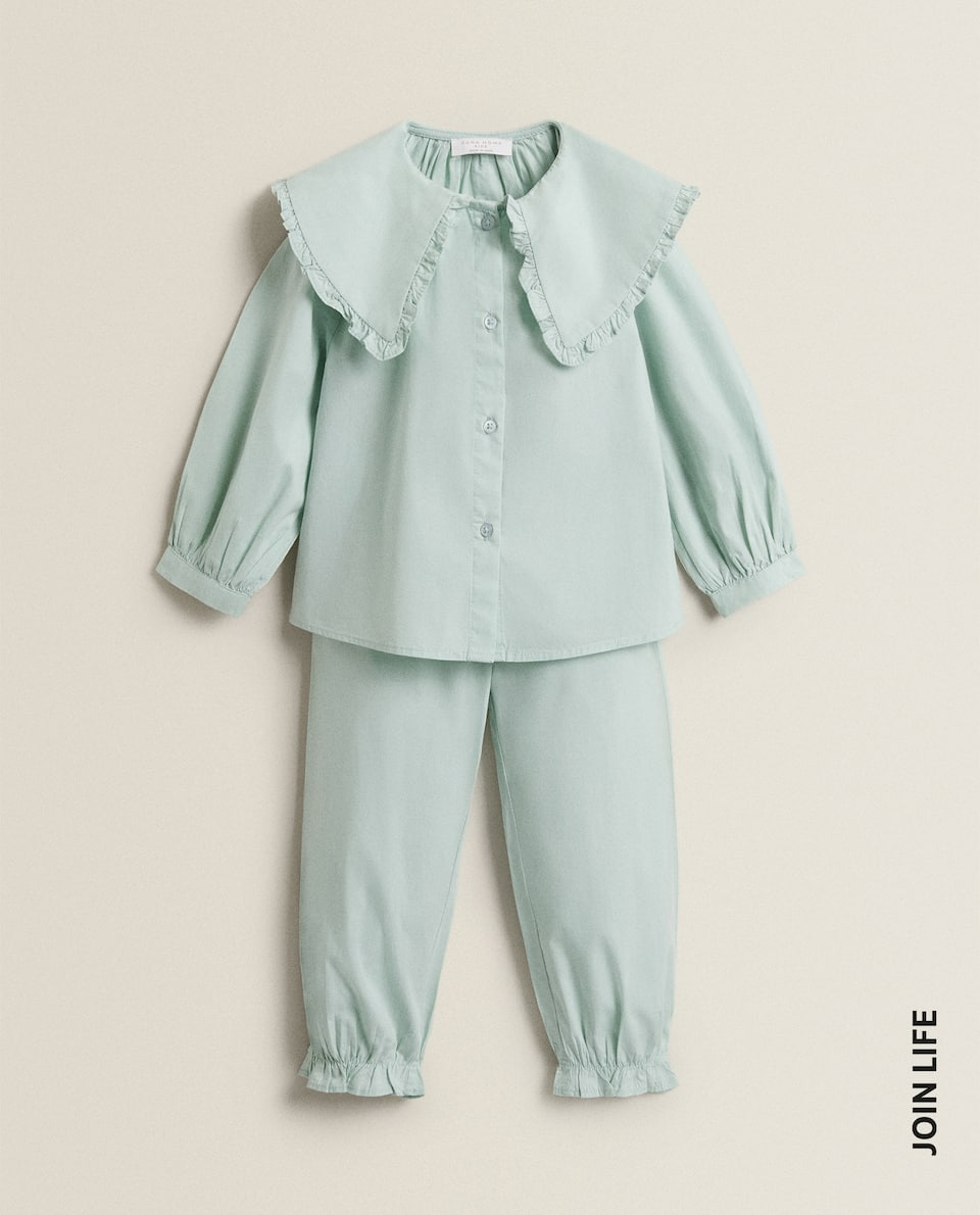 POPLIN PYJAMAS WITH COLLAR