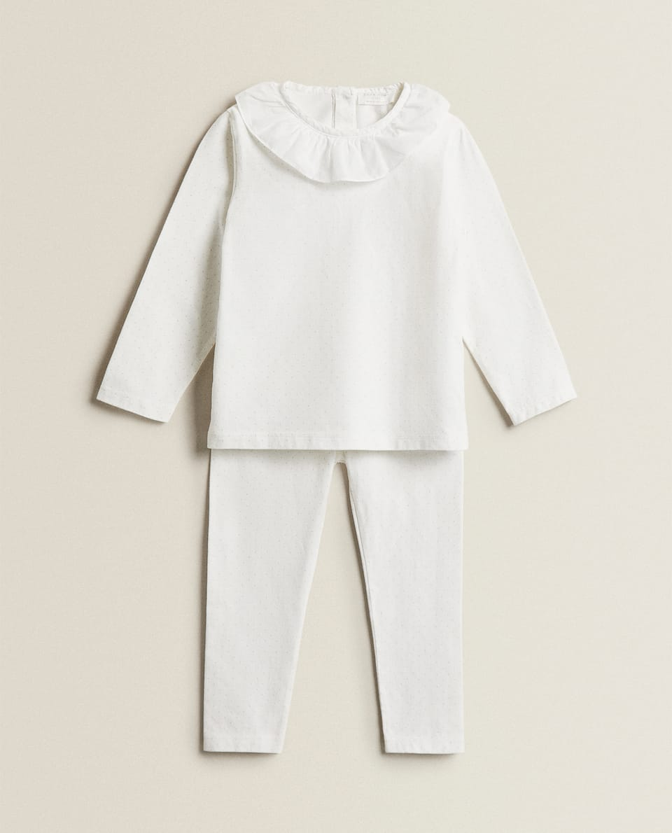 COTTON JERSEY PYJAMA SET WITH COLLAR DETAIL