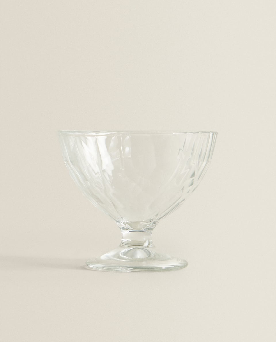 RAISED DIAMOND DESIGN GLASS ICE CREAM CUP