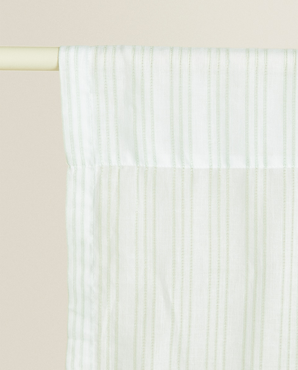 COTTON CURTAIN WITH VOILE AND OPENWORK