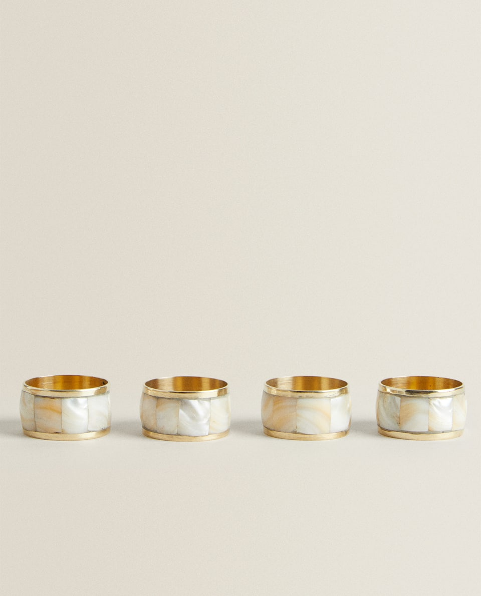 MOTHER-OF-PEARL NAPKIN RINGS (PACK OF 4)