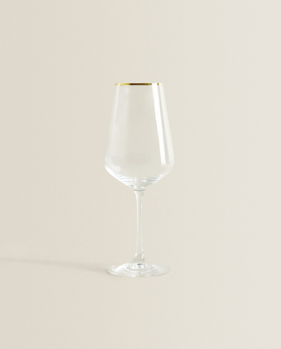 BOHEMIA CRYSTAL GOLD-RIMMED WINE GLASS