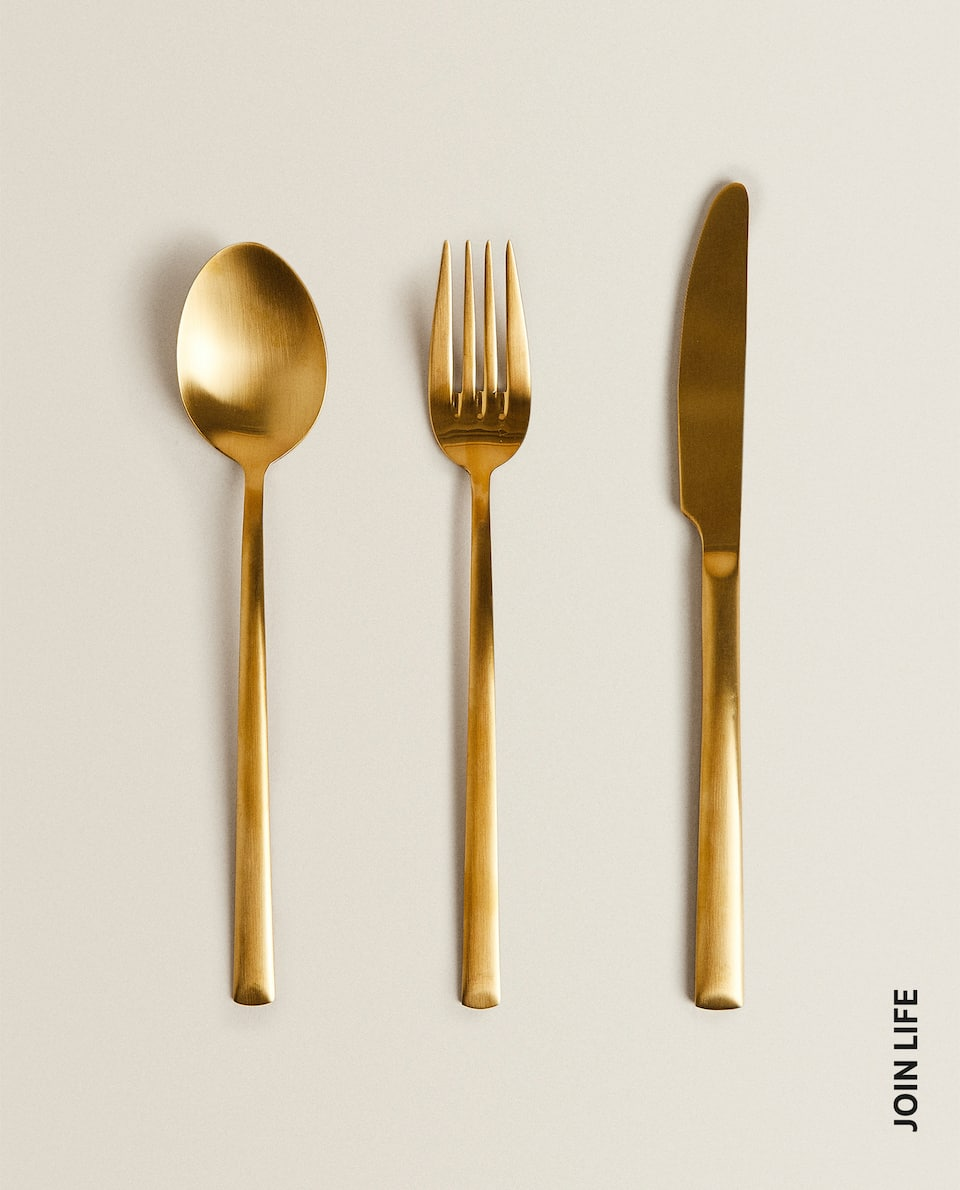 3-PIECE GOLD FLATWARE SET