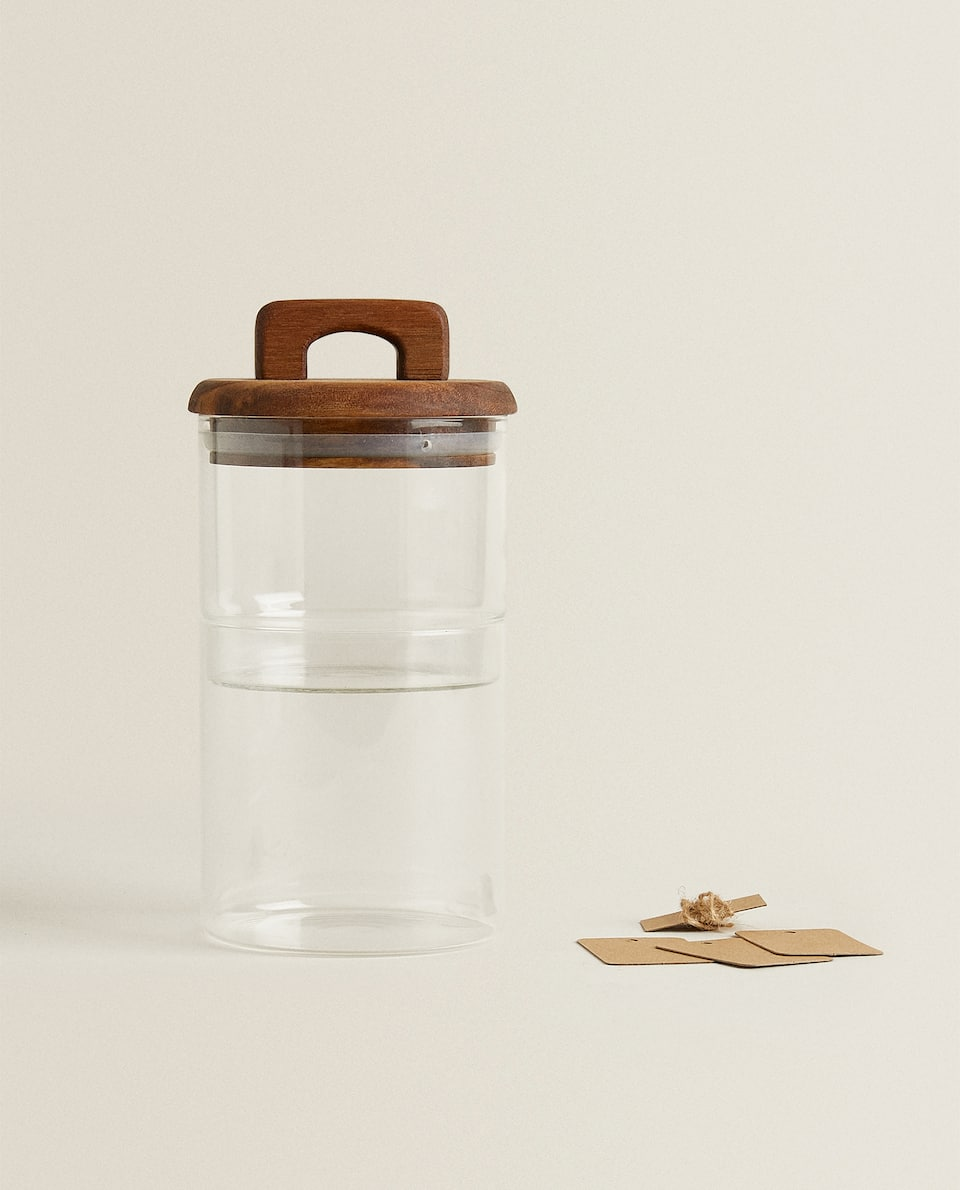 BOROSILICATE GLASS AND WOOD DOUBLE JAR