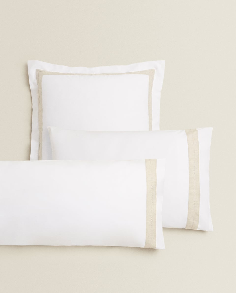 PILLOWCASE WITH LINEN BORDER