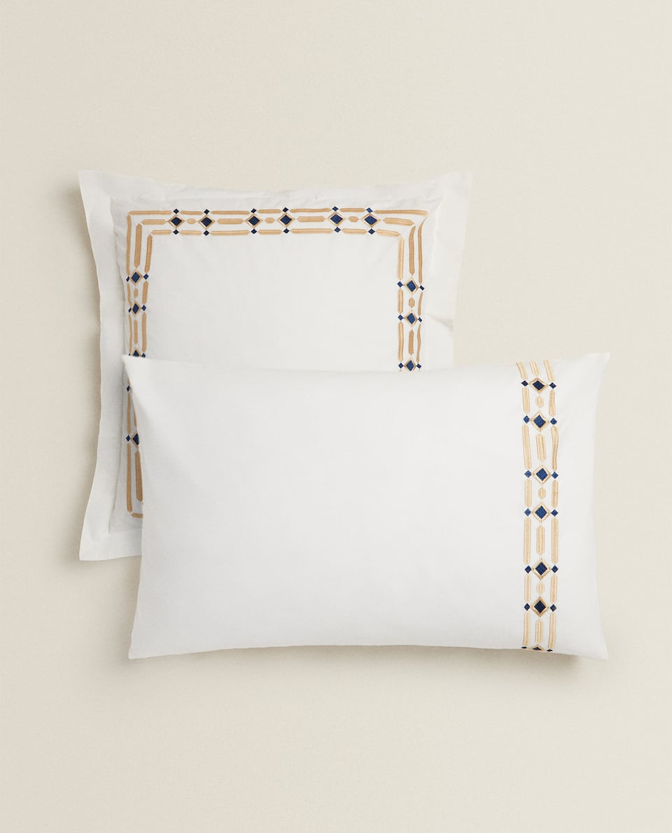 EMBROIDERED DIAMONDS PILLOWCASE