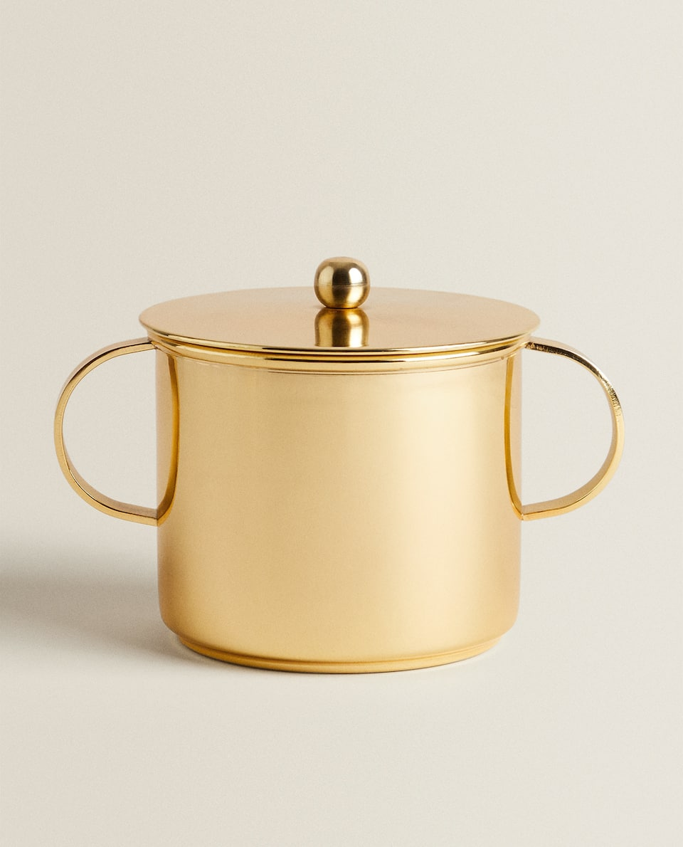 SUGAR BOWL WITH GOLD METAL DETAIL