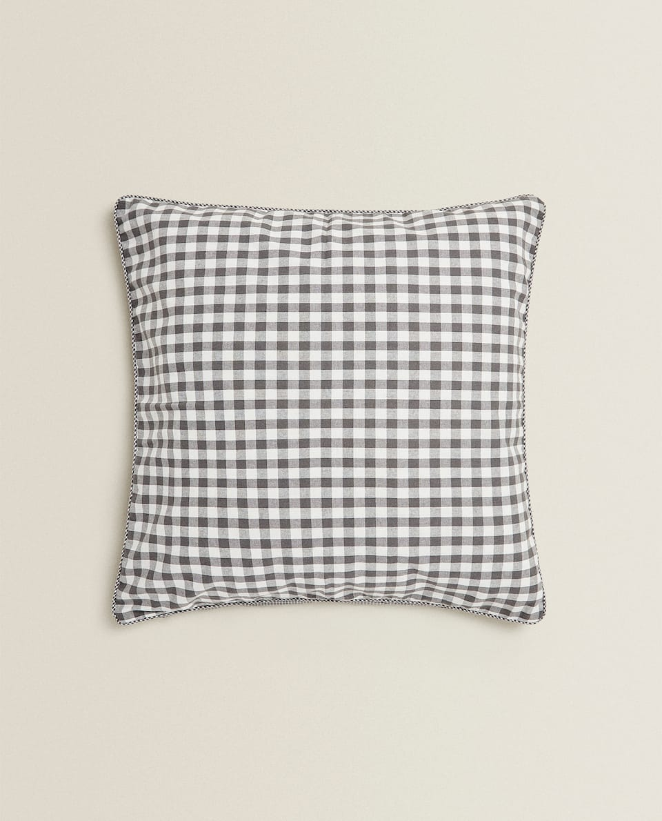 REVERSIBLE GINGHAM CHECK CUSHION COVER