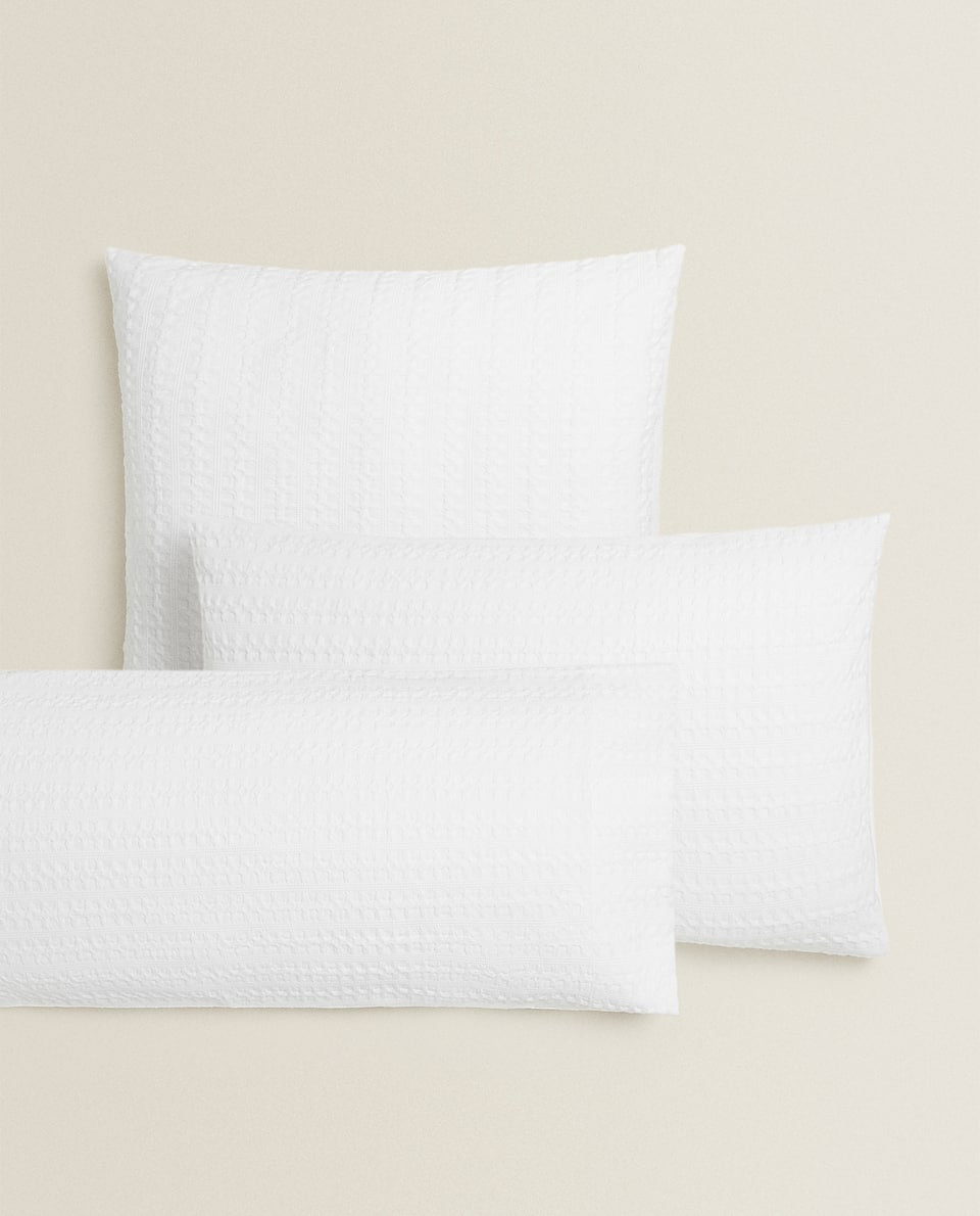 WAFFLE-KNIT PERCALE PILLOWCASE